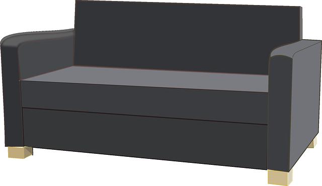 Kresba rozkládací pohovky pro dvě osoby